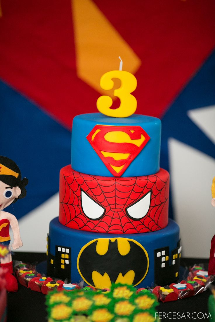 Cool cake. Possibly switch spider man for wonder women?