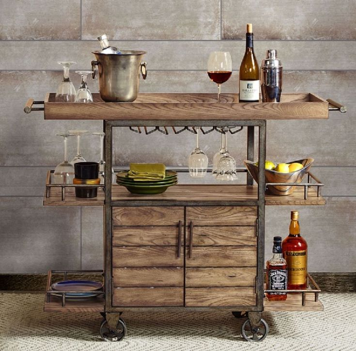 Rustic Bar Cart Portable Serving Tray Wine Beverage Drink Tea Trolley Industrial Acebbaecefbf