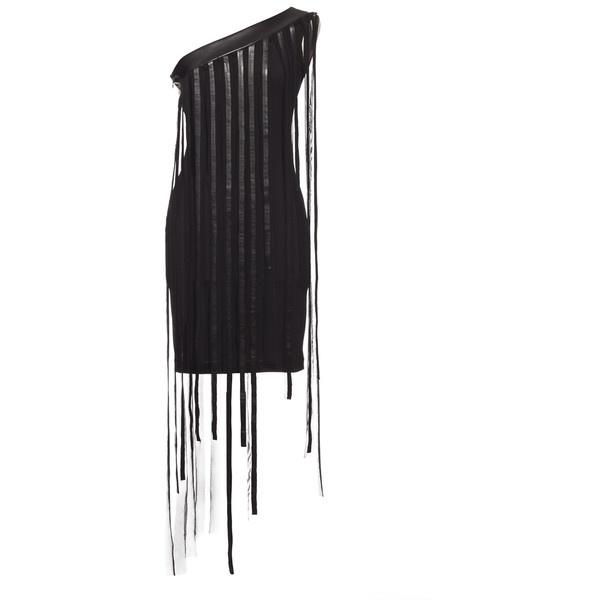 Annaeva One-Shoulder Mini Dress With Fringes - Black ($130) ❤ liked on Polyvore