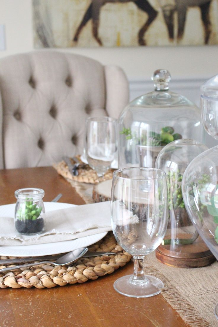 Spring Tablescape- using cloches- tables for spring- glass jars- spring decor- using succulents- succulents for a tablescape- table setting for spring- spring decorating- table decorations- succulents for spring