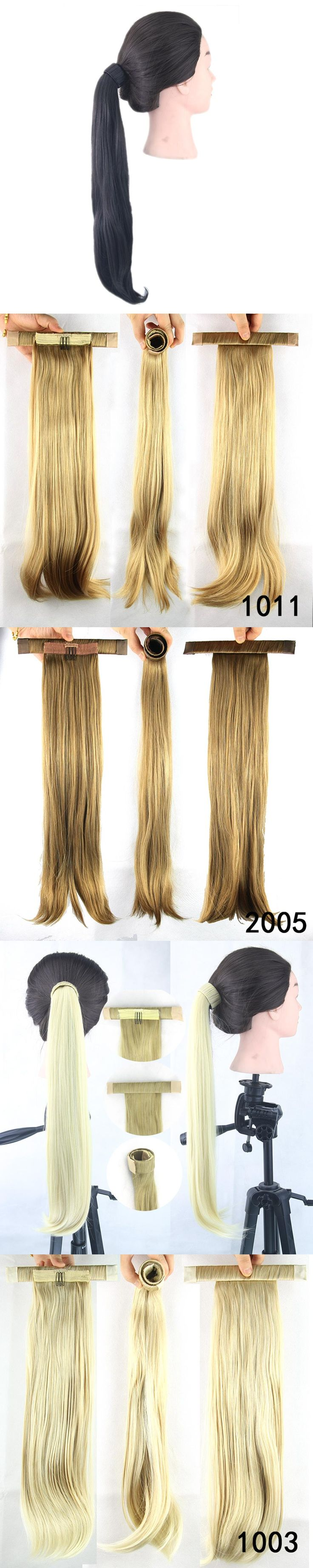 Soowee Long High Temperature Fiber Synthetic Hair Straight Ponytails with Hair Band Little Pony Tail Clip in Hair Extensions