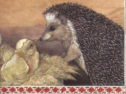 Jan Brett illustration. children's book. hedgehog and baby chick. enough said.