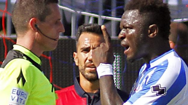 "Ghanaian midfielder Sulley Muntari says he would walk off the pitch again adding that Fifa and Uefa are ""not taking racism seriously"".  The Pescara player 32 was sent off after leaving the field claiming he was racially abused during a Serie A game.  In a BBC interview the ex-Portsmouth player claims racism is ""everywhere and getting worse"" and encourages players to go on strike to combat it.  ""I went through hell I was treated just like a criminal"" he said.  ""I went off the field because I…"