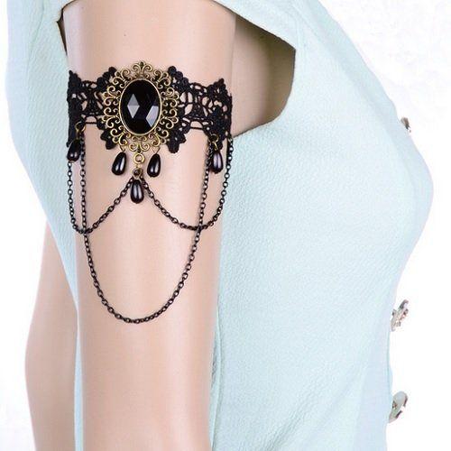 コスプレ 系 腕輪 アンティーク 風 クールで オシャレ バングル ゴスロリ V系 ヴィジュアル系 (黒宝石 + 黒5玉)