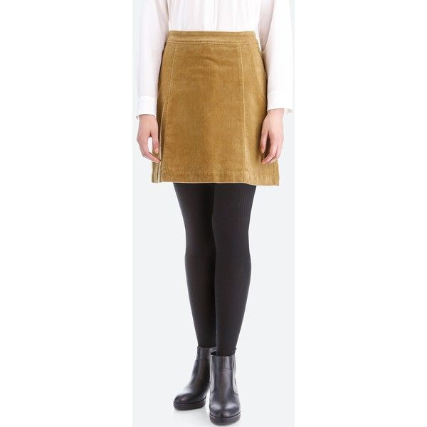 UNIQLO Women's High-waist Corduroy Mini Skirt ($30) ❤ liked on Polyvore featuring skirts, mini skirts, beige, high-waisted skirt, uniqlo, layered mini skirt, short mini skirts and corduroy mini skirt