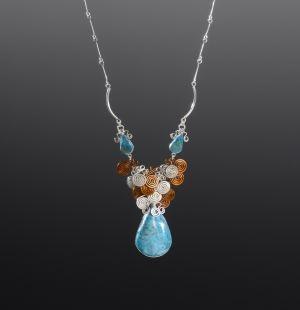Chrysocolla Silver & Copper Necklace by Coco Paniora Salinas
