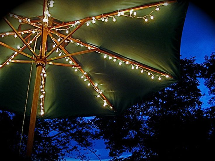 String Lights Under Table : Best 25+ Patio umbrella lights ideas on Pinterest Garden umbrella lighting, Patio table ...