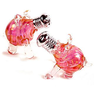 pink pigs...Hand blown glass