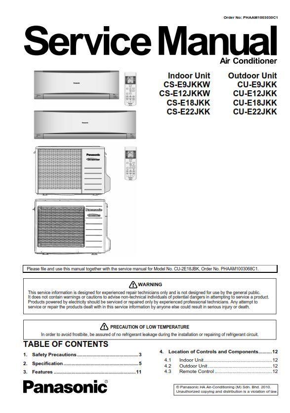 Panasonic Cs Cu E9jkkw E12jkkw E18jkk E22jkk Airconditioner Service Manual Repair Guide Air Conditioner Repair