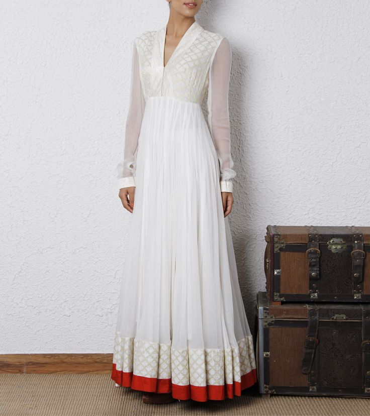 White Chiffon & Chanderi 36 Kali Anarkali Dress | by House of Tuhina