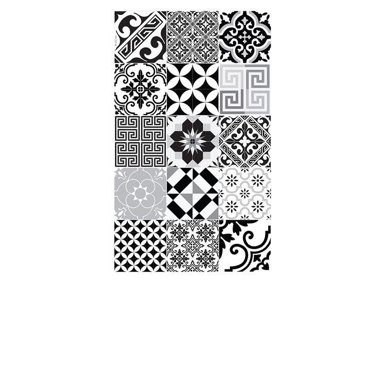 un grand tapis pour la cuisine tapis vinyle eclectic noir blanc 70 - Tapis Vinyl Cuisine