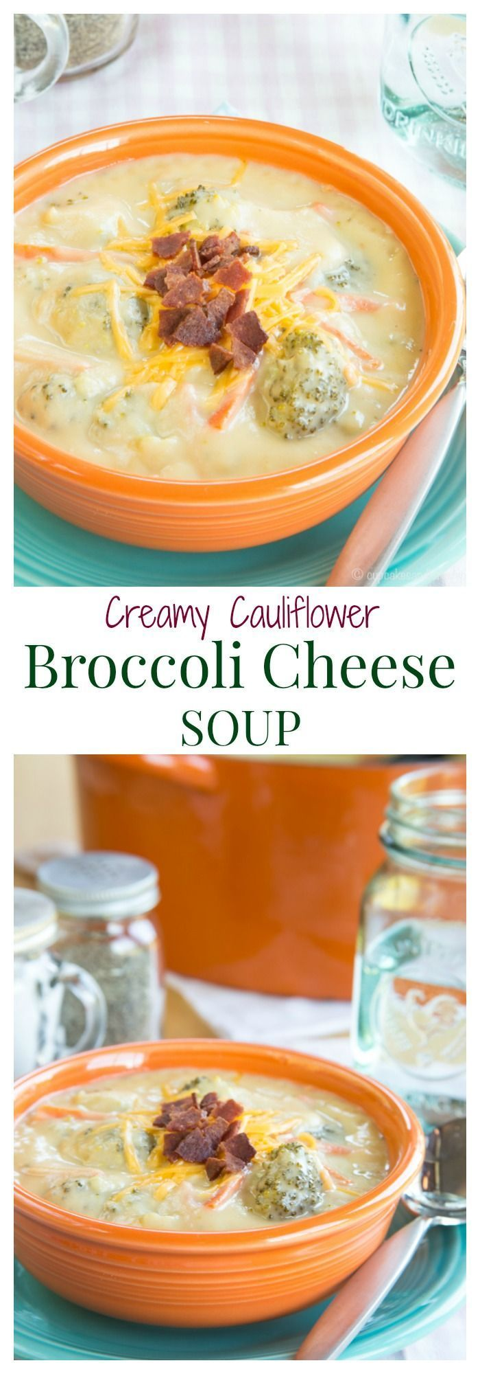 Creamy Cauliflower Broccoli Cheese Soup - a healthier and veggie-packed version of a favorite comfort food recipe for #SundaySupper   cupcakesandkalechips.com   gluten free, low carb, vegetarian (without the bacon garnish)