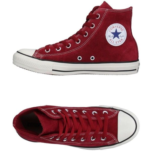Converse All Star High-tops & Sneakers (24.275 HUF) ❤ liked on Polyvore featuring shoes, sneakers, maroon, animal trainer, maroon sneakers, maroon shoes, leather flat shoes and leather sneakers