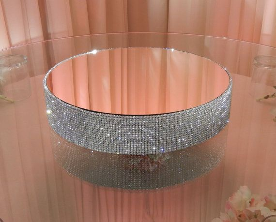 "Crystal Cake Stand - 16"" round with mirror top. $225.00, via Etsy."
