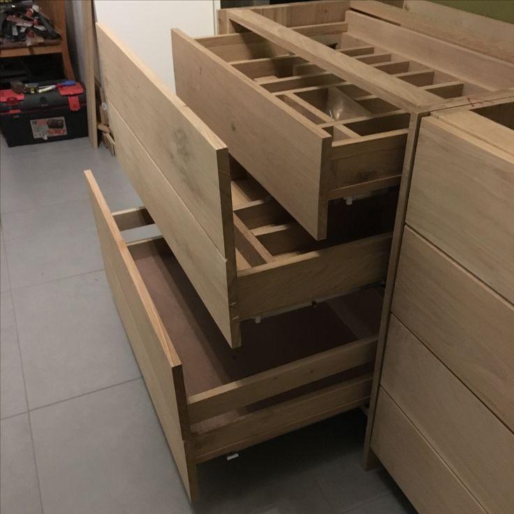 Drie keuken laden kast eikenhout