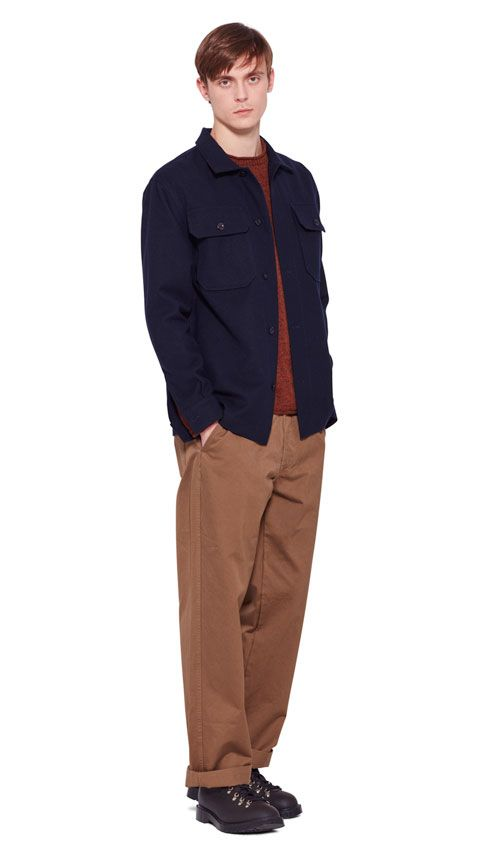 AUTUMN WINTER 2016 COLLECTION -   DARK NAVY WOOL COTTON DRILL MHL HEAVY OVERSHIRT,  GINGER RAW MERINO WOOL MHL ROLLED EDGE JUMPER,  WHISKEY DRY COTTON DRILL MHL PATCH POCKET TROUSER,  DARK BROWN HEAVY LEATHER MHL HIKING BOOT