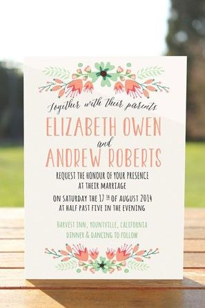 mint and peach floral wedding invitation