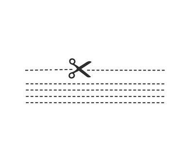 """Sticker Sewing Kit  Sticker mural en vinyle de plusieurs rectangles noirs (10 mètres) et de 4 paires de ciseaux.  Avec ce sticker, il est possible de """"découper"""" toutes les forme..."""