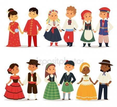 Traditionella barn par karaktär av världen klänning flickor och pojkar i olika folkdräkter och söta små barn nationalitet klänning vektorillustration — Stock vektor #142652335 — Depositphotos