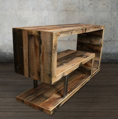 Media Console / Entertainment Center • Dimensions: 48Long x 16Deep x 24H • Custom steel inset • Designed by J W Atlas • CUSTOM SIZES AVAILABLE At