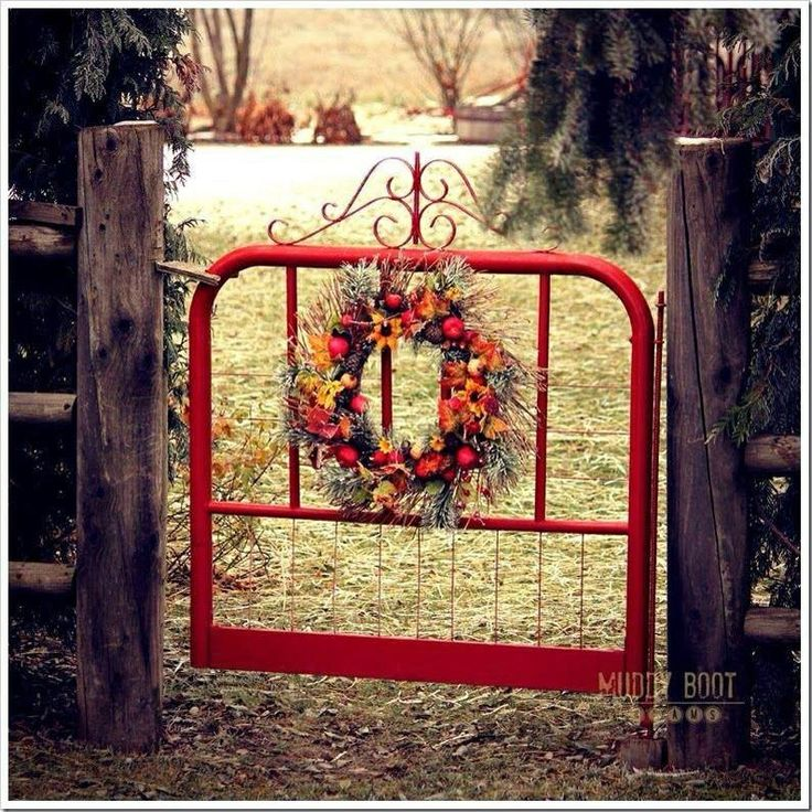 Gorgeous Red Old Iron Bed Gate.....