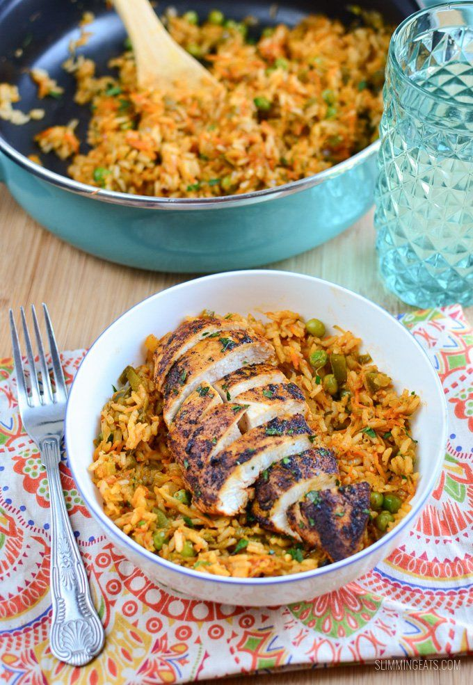 Deliciously seasoned Syn Free Spanish Chicken and Rice - quick to put together and a meal the whole family will enjoy.