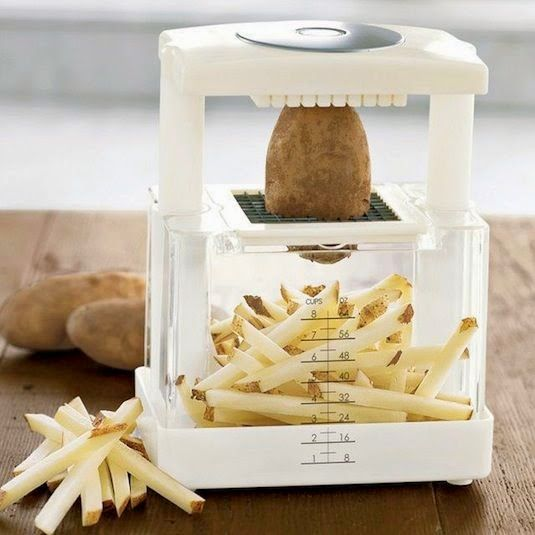 50 Useful Kitchen Gadgets You Didn't Know Existed. I haven't checked out the entire thing, but this would make french fries easy!