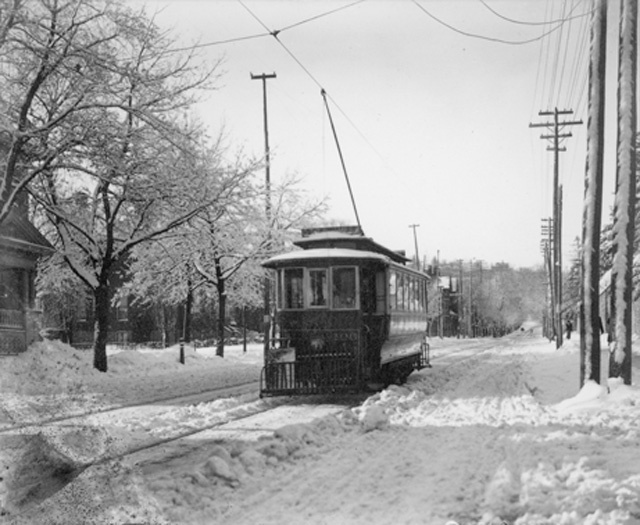 """""""Street Car on James Street South. The Hamilton Street Railway Company (HSR) is the Transit Division of the City of Hamilton, Public Works Department in Ontario, Canada. The name is a legacy of the days when the majority of public transit vehicles were streetcars; the present-day Hamilton Street Railway is in fact a bus operator. From 1873 to 1889, the HSR was owned by Lyman Moore and operated as a private business"""" via Hamilton Public Library"""