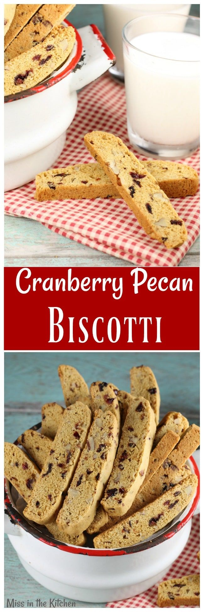 Cranberry Pecan Biscotti is the perfect holiday treat to bake and share! My favorite Christmas cookie! Recipe from MissintheKitchen.com #cookies #Christmas #cranberry #pecan