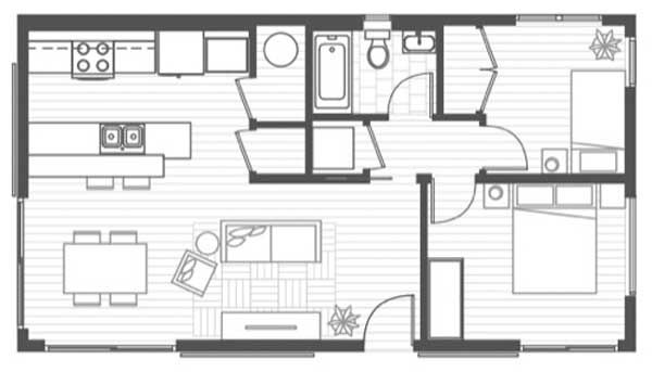 Plano de casa madera de 66 m2 habitables planos pinterest - Planos de casas pareadas ...