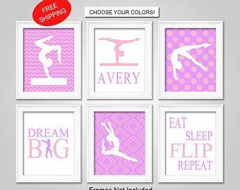 PRINTS or CANVAS or Printable Digital Download Set of 6/Gymnastics Wall Art/Gymnastics Bedroom Decor/Gymnastics Posters/Gymnastics Canvas