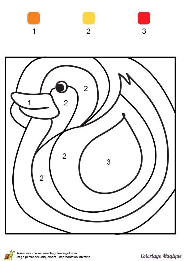 coloriage magique ce1 canard à imprimer sur hugolescargot.com