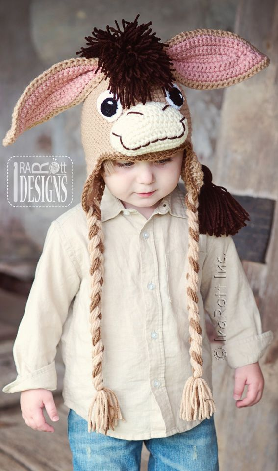 Farm or barn animal hat - Funky Donkey Crochet Pattern by IraRott