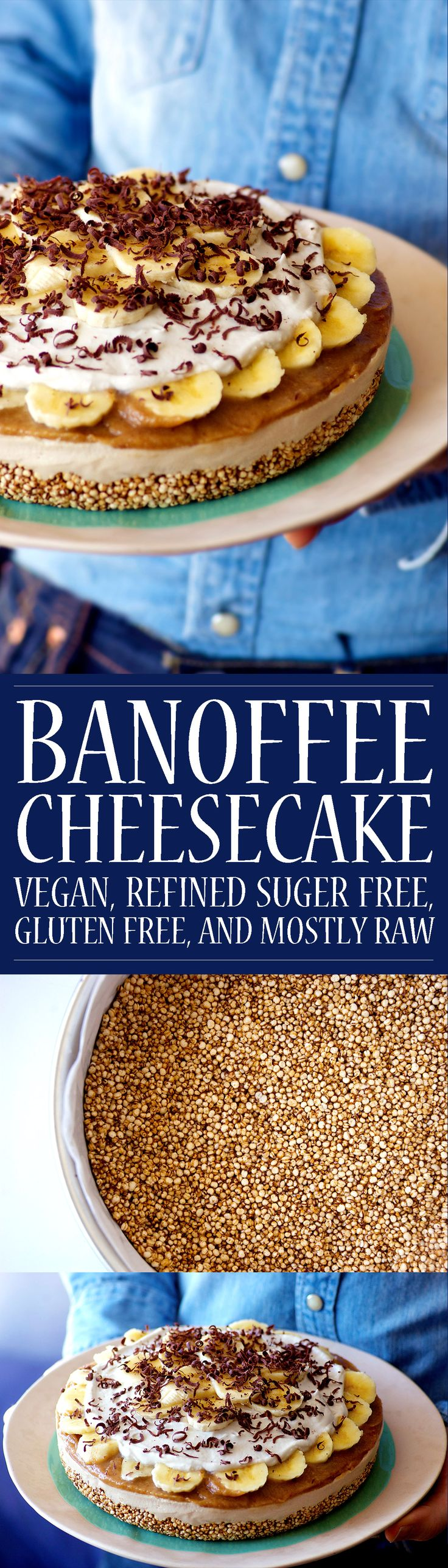 Banoffee Cheesecake! Vegan, mostly raw, gluten free, and refined sugar free! A delicious and nutritious holiday dessert! This easy recipe on Homespun Capers.