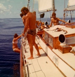 We hit the doldrums:  no wind anywhere for three days.  Sails are up and tight as we swim beside Stormvogel in the middle of the Atlantic.