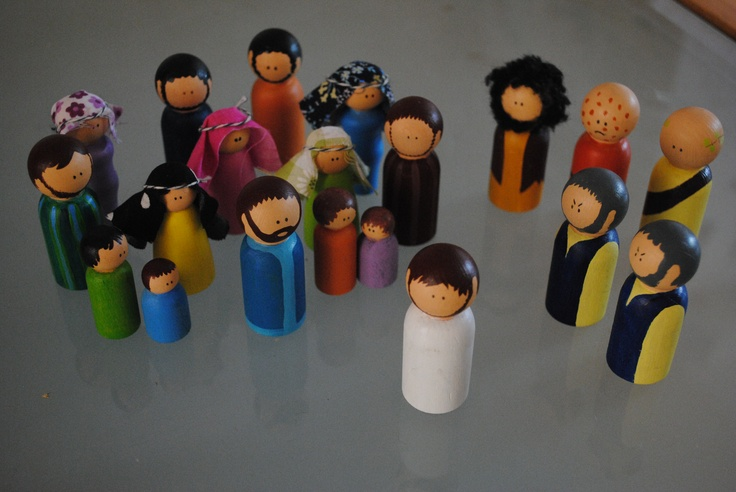 Bible characters.  I painted these little people so that we could tell Lucy really short Bible stories that she might engage with a bit more than children's Bibles.  We all love it!