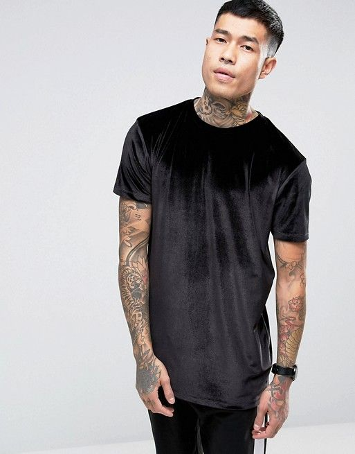 3f369e7a390f DESIGN relaxed longline t-shirt in velour in black in 2019 | My ...