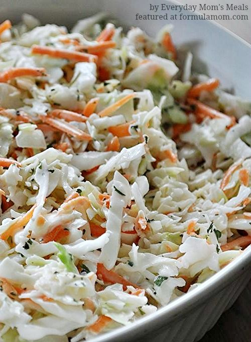 Copycat KFC Coleslaw Recipe - Formula Mom | Texas Blogger 1 (1 lb.) package coleslaw mix with cabbage & carrots 2 TBS minced onion 1/3 c. sugar 1/2 tsp. salt 1/8 tsp. pepper 1/4 c. milk 1/2 c. mayo 1/4 c. buttermilk 1 1/2 TBS white vinegar 2 1/2 TBS lemon juice Dried Parsley