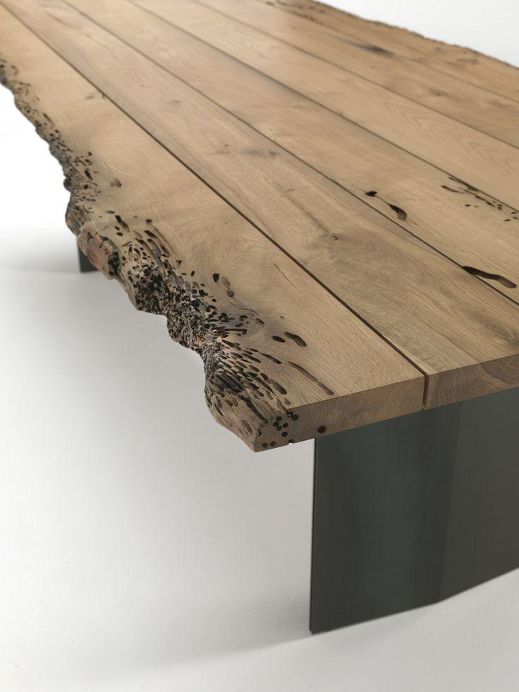 Tavolo rettangolare in legno massello SKY-NATURA BRICCOLA by Riva 1920 design Maurizio Riva, Davide Riva