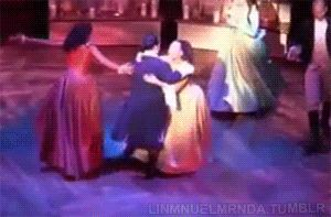 "broadwayreprise: "" Hamilton grinding in celebration after he has earned Eliza's hand in marriage. "" Because everyone needs to see this dance."