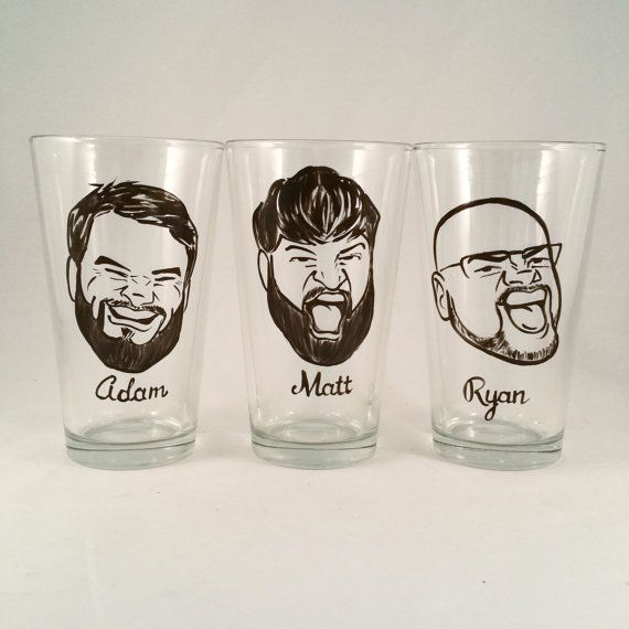 Set of 3 - Cool Groomsmen Gift - Vintage Style Original Caricature Beer Glass- Hand Painted Beer Glass