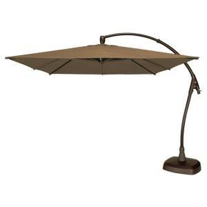 cantilever patio umbrella with base in cocoa acrylic