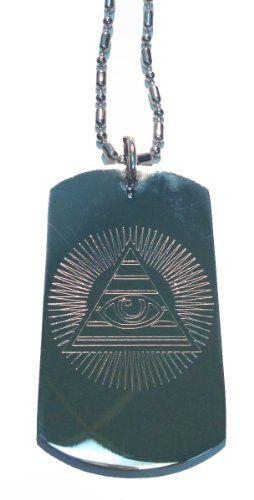 All Seeing Eye Pyramid w/ Rays from Sun - Military Dog Tag, Luggage Tag Metal Chain Necklace