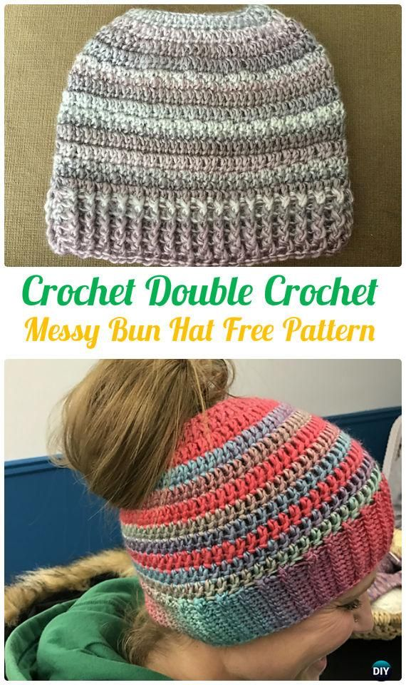 Crochet Double Crochet Messy BunHatFreePattern - Crochet Ponytail Messy Bun Hat Free Patterns & Instructions