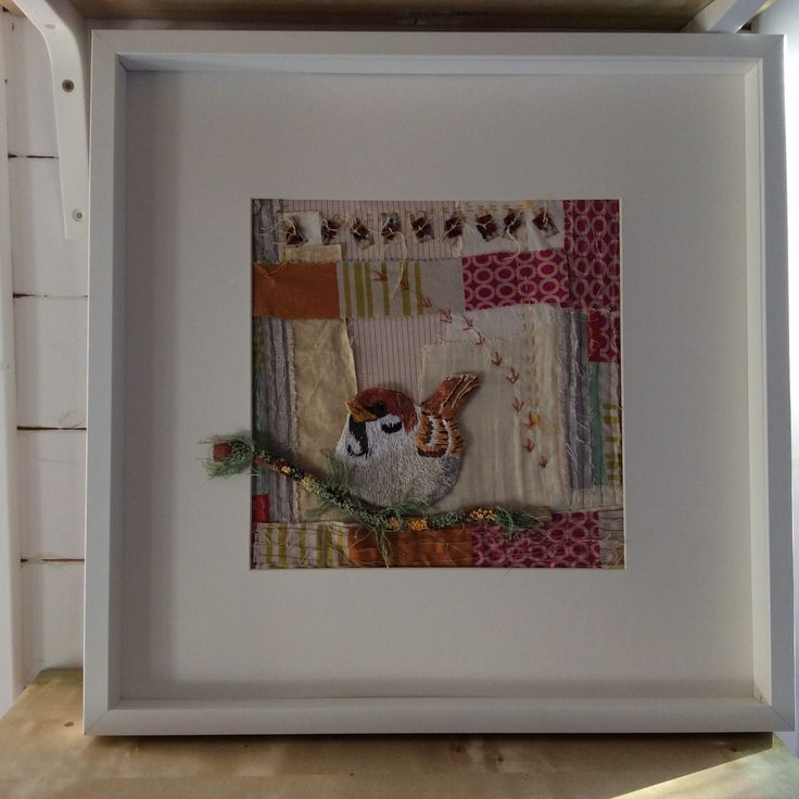 Sparrow. Irish garden birds series. Hand embroidery. www.violetshirran.com
