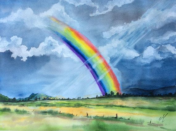 Rainbow Watercolor Art Nature Art Watercolor Landscape Arte De Acuarela Produccion Artistica Paisajes Acuarela