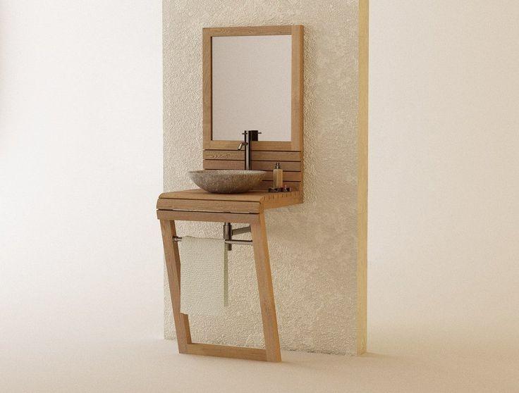 Muebles de ba os en madera de teca serie lavamanos for Lavamanos rusticos de madera