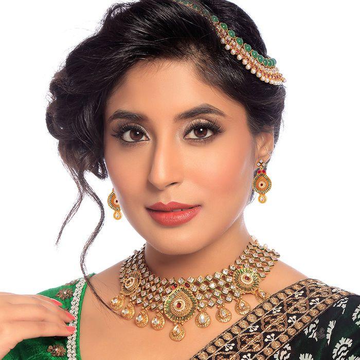 #Bollywood #Actress #Kritika #Kamra Pleasing #Gold #Plated American #Diamond #Wedding #Necklace Set. -http://goo.gl/okXnSm #SukkhiJewellery