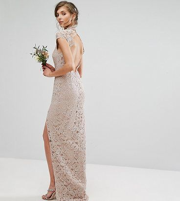 On SALE at 31% OFF! Wedding High Neck Lace Dress With Cap Sleeve by TFNC Tall. Tall dress by TFNC, Semi-sheer lace, Partially lined, High neck, Sweetheart bodice, Button-keyhole back, Thigh split,...