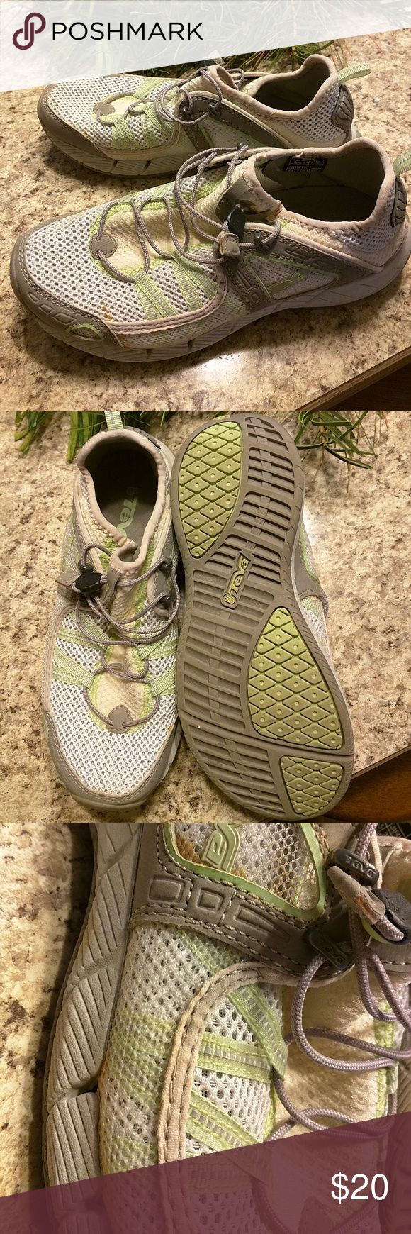 Water shoes Only worn a few times in swimming pool aqua Zumba, some discoloration.  Very comfortable. Teva Shoes Athletic Shoes